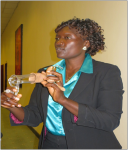 DrAjeani demonstrates cervical cancer development using clinical instruments.